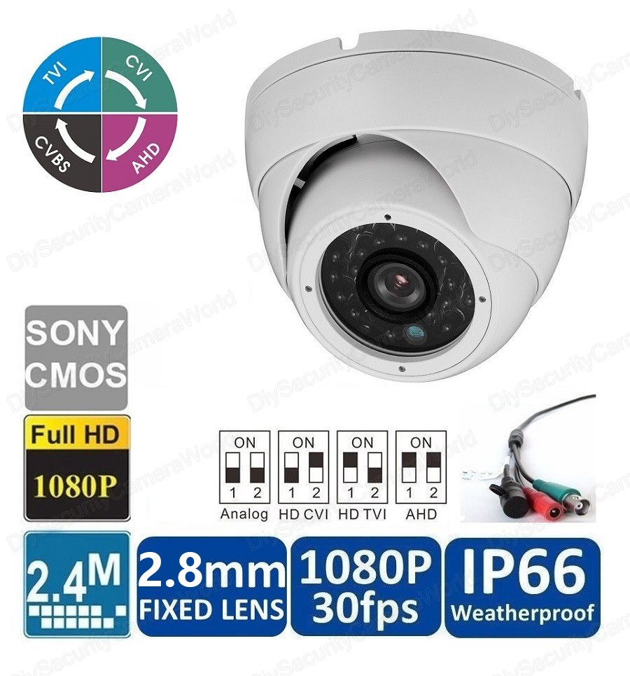 HD 1080P Dome Camera 2.4MP Wide Angle Lens 2.8mm BNC 24IRs