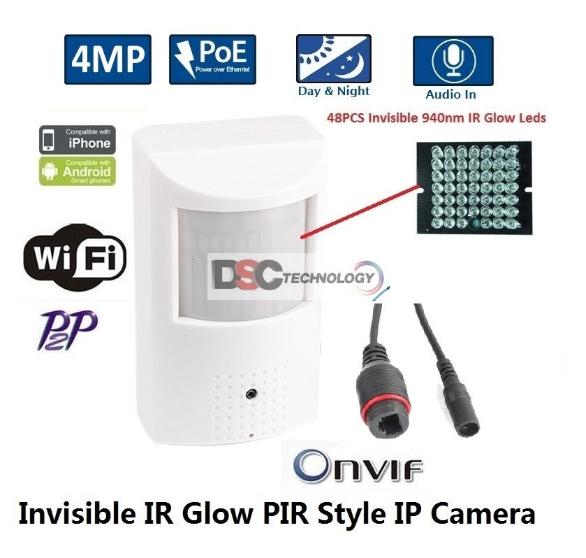 4MP Indoor Audio Security PIR Style IP IR Camera 12VDC/PoE wifi