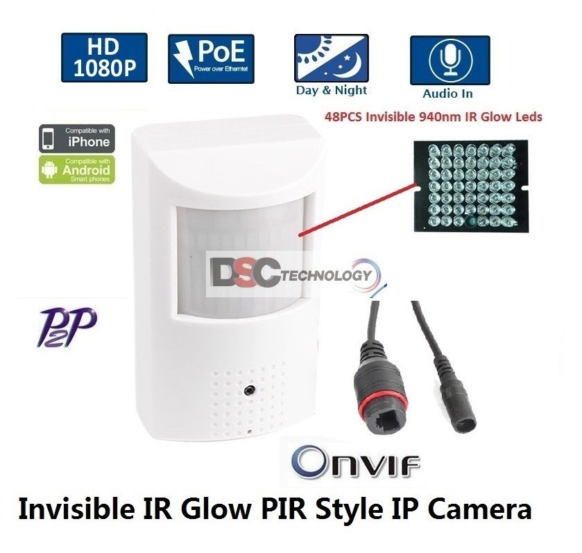 1080P 2MP Indoor Audio Security PIR Style IP IR Camera 12VDC/PoE