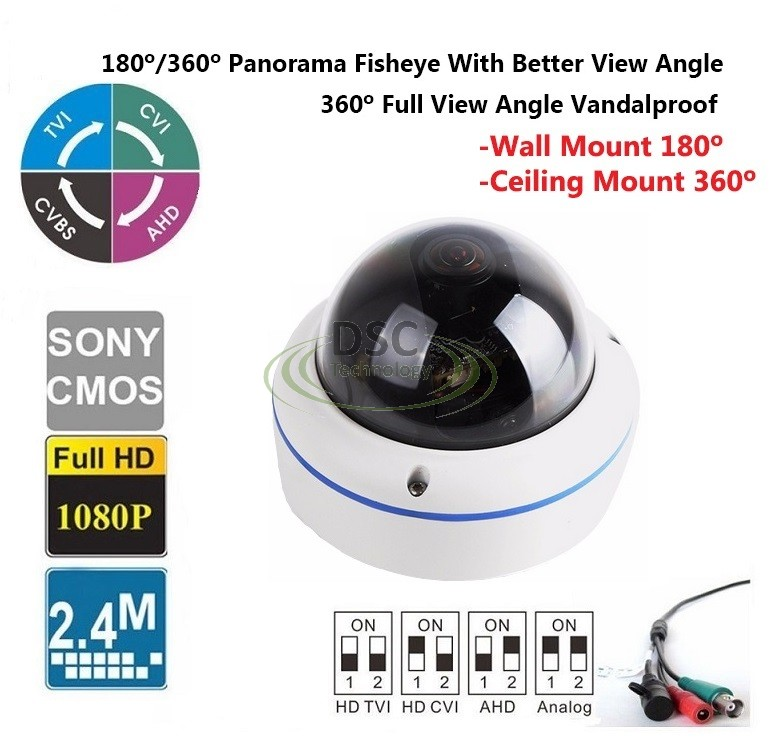 HD 2.4mp 360 Degree Fisheye Widely Angle View Security Camera