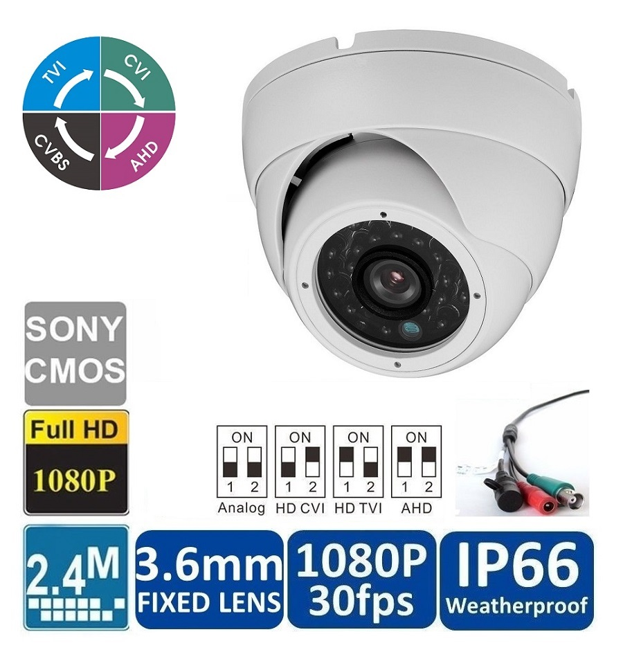 HD 1080P Dome Camera 2.4MP Wide Angle Lens 3.6mm BNC 24IRs