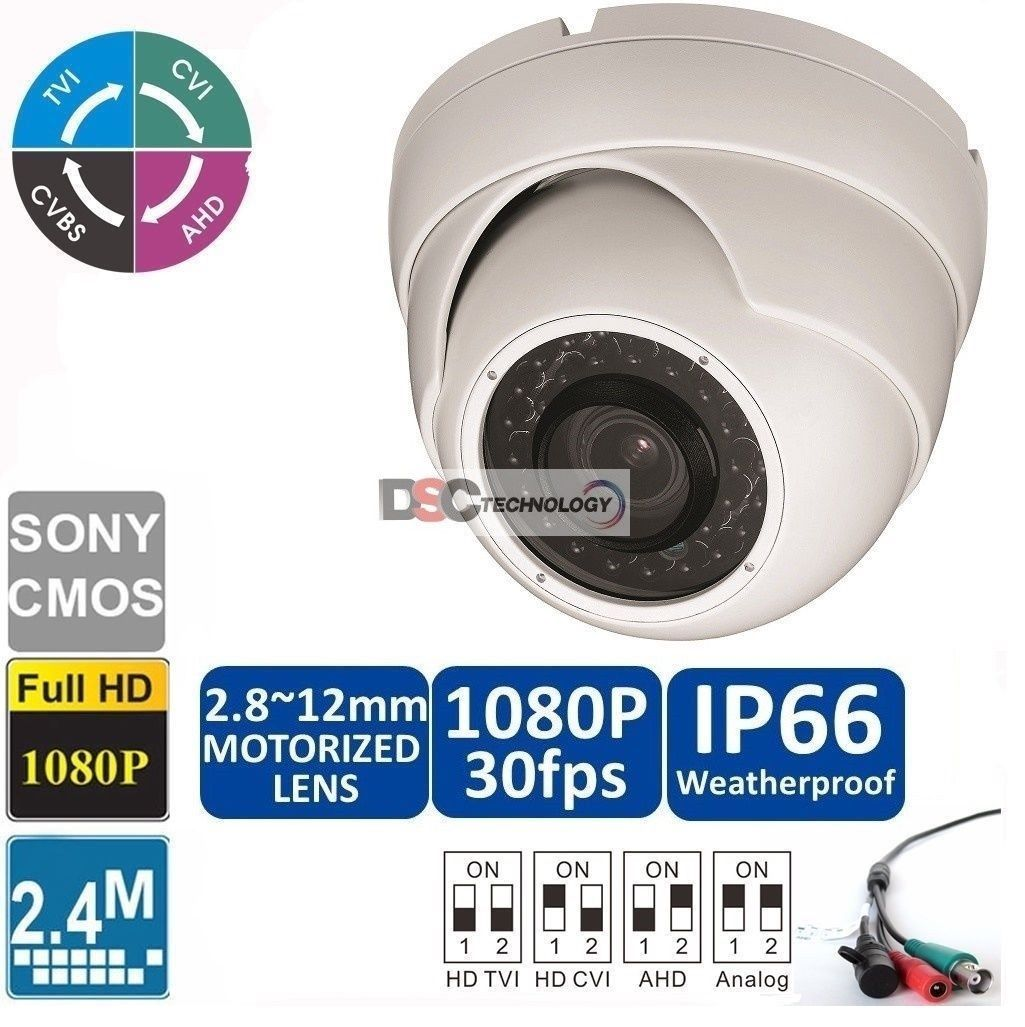 2.4MP 1080P 2.8-12mm motorized IR-Dome Camera CVI/TVI/AHD