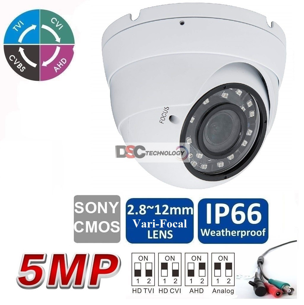 5MP(TVI/AHD)/ 4MP CVI HD IR Security Dome Camera 2.8mm-12mm VF