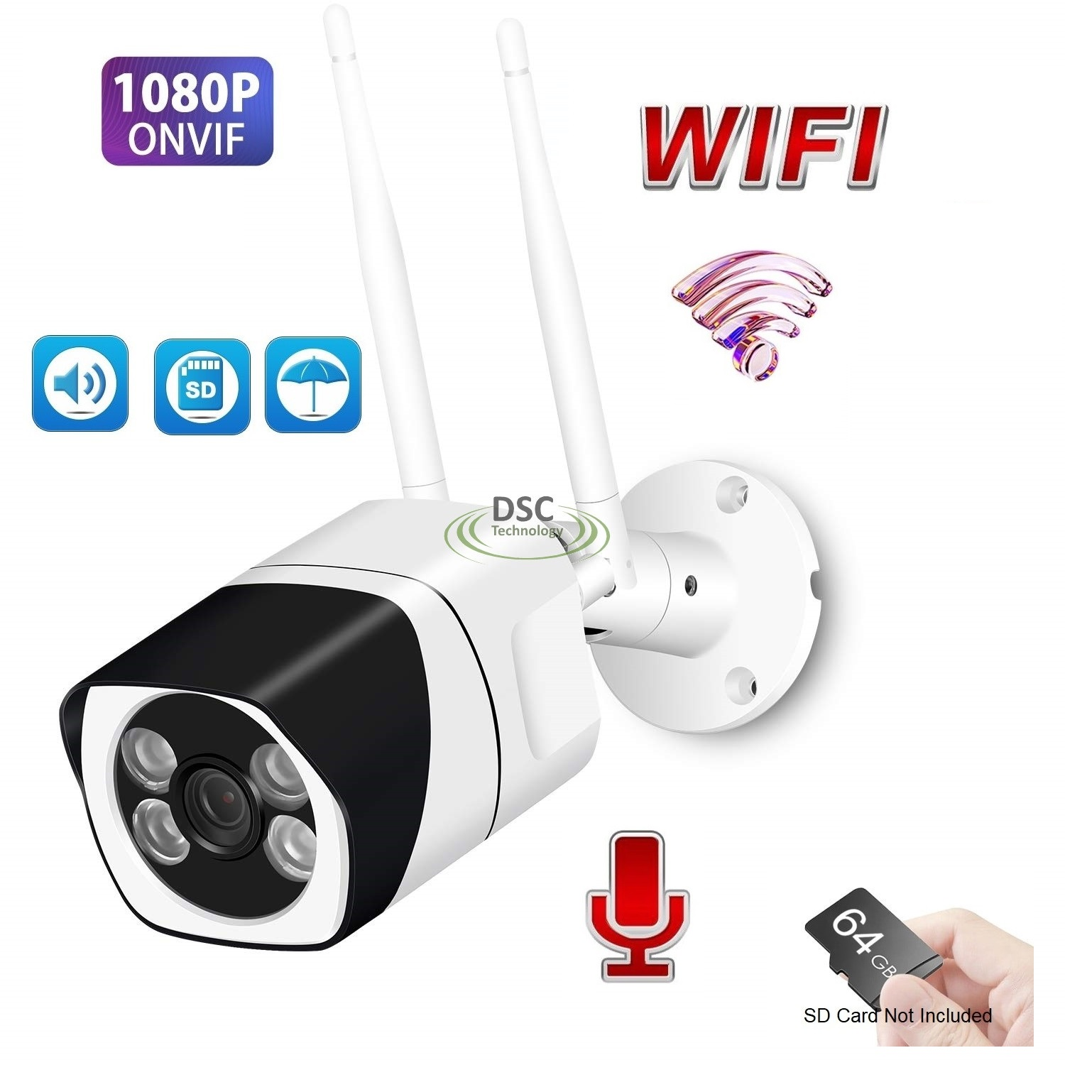 Two Way Audio Mini Wifi 1080P IR Bullet Camera