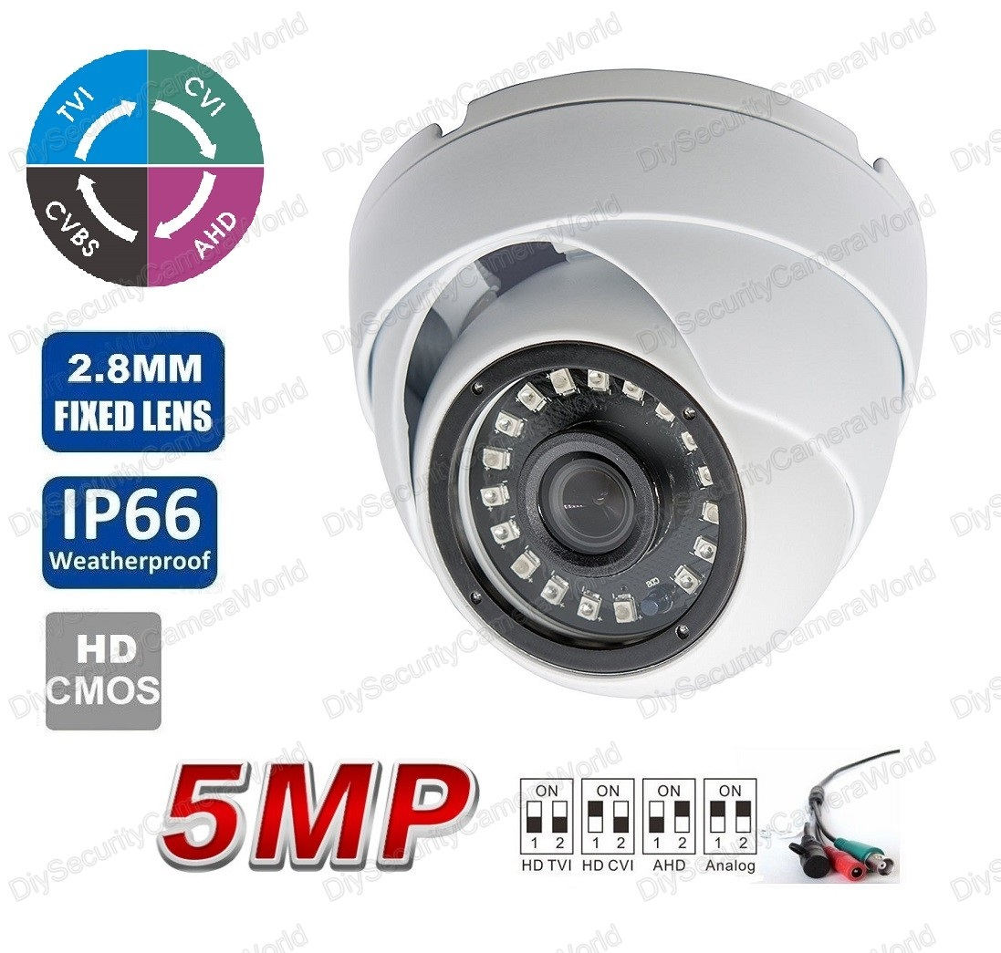 5MP (TVI/AHD)/ 4MP CVI HD IR Security Dome Camera 2.8mm Lens