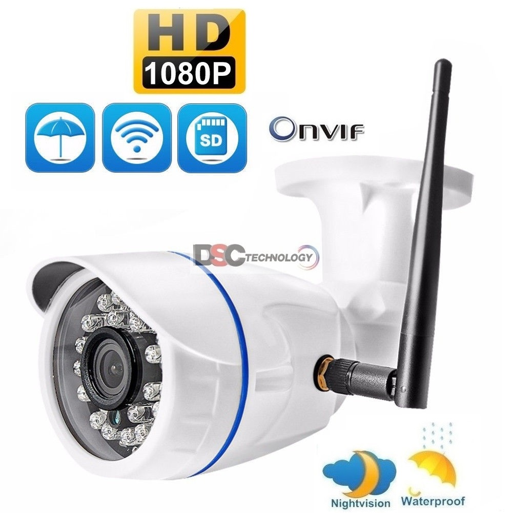 1080P Onvif wireless IP Bullet Camera in/outdoor 12VDC