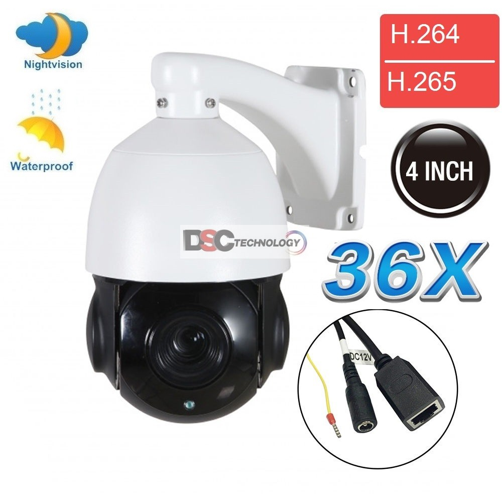 Mini IR IP Outdoor PTZ Camera 2 MegaPixels 36X Zoom, Onvif 12VDC
