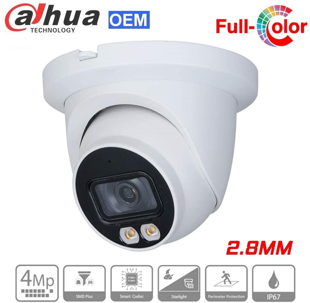 4MP Full-color Warm LED Fixed focal Eyeball WizSense PoE IP Dome