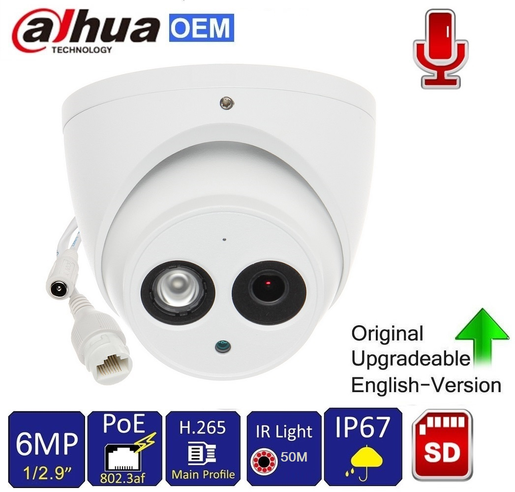 Dahua PoE 6MP WDR Mini Audio Dome IP CCTV Camera 2.8mm