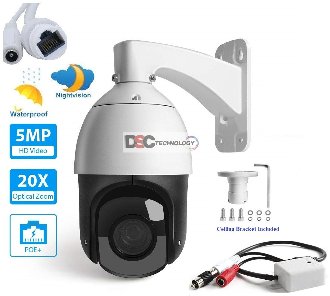 5MP 20X Optical Zoom PoE Onvif Dome Camera Audio NightVision