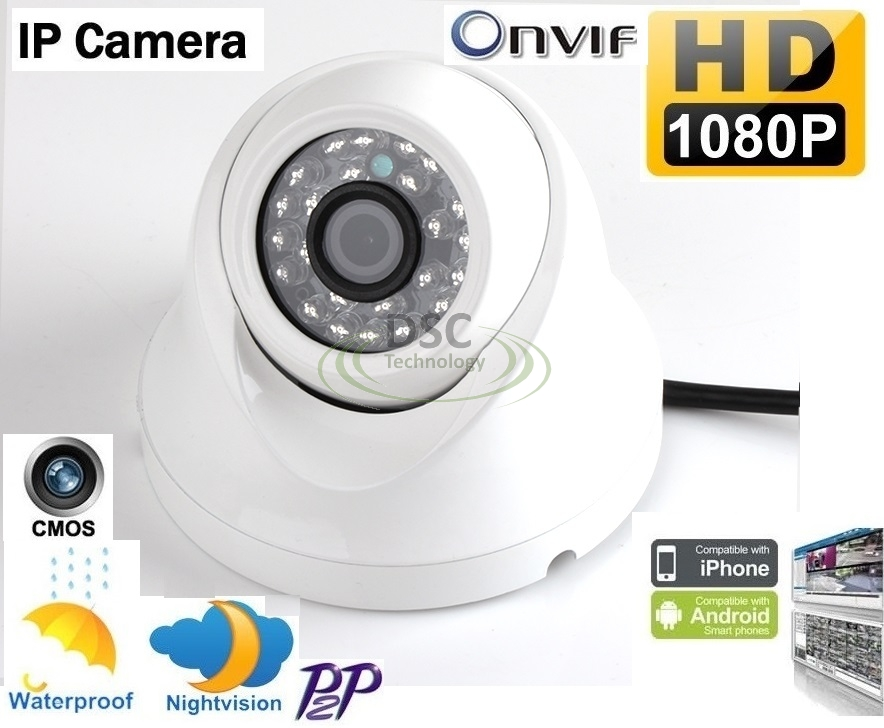 1080P 2MP Mini Eyeball Security IP Dome Camera 2.8mm Lens Onvif