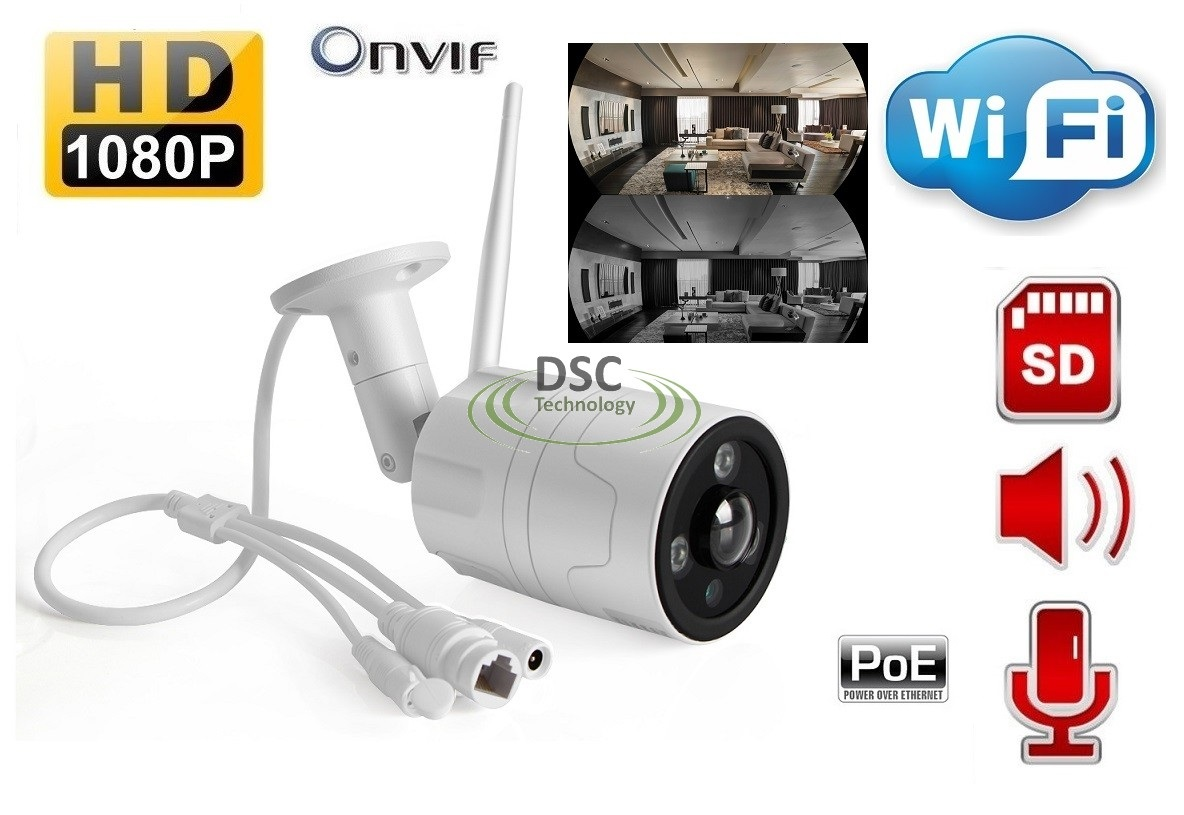 Onvif WiFi Fisheye Audio IP Bullet Camera in/outdoor 12VDC/PoE