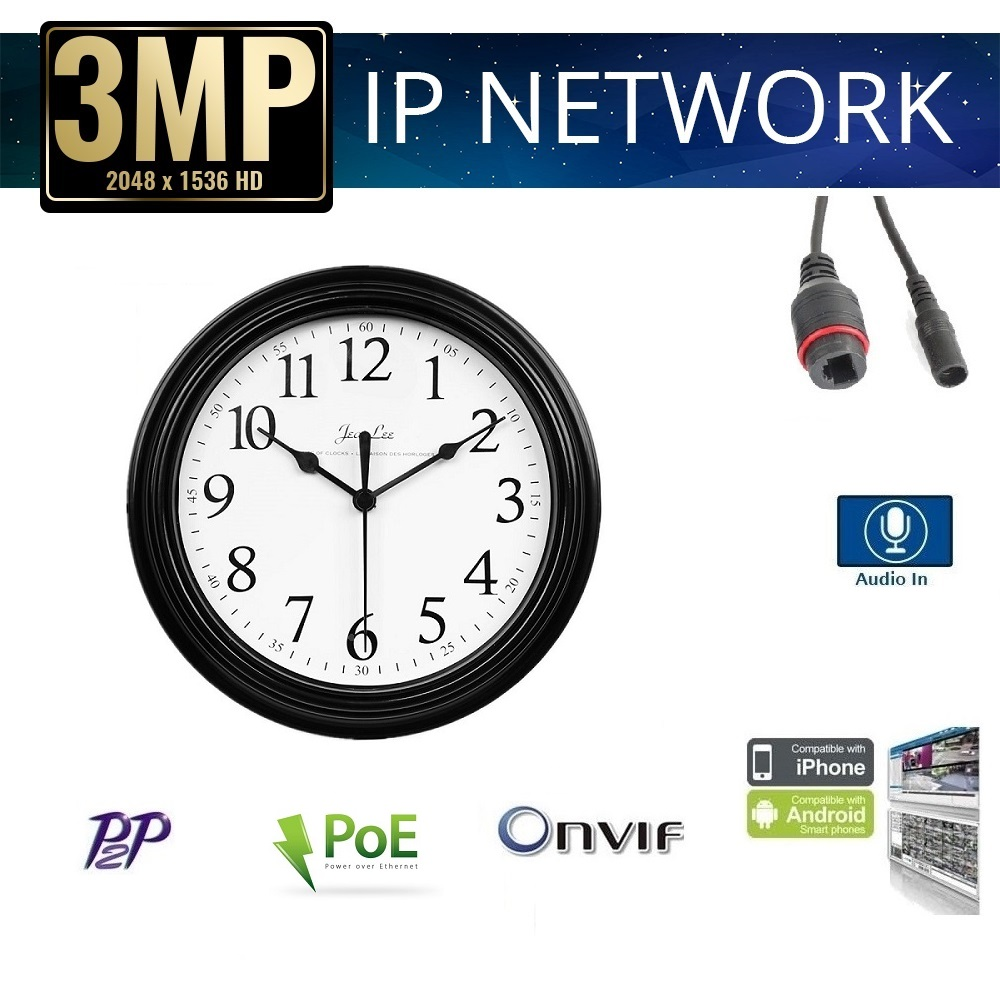 "9"" Wall Clock Style IP Hidden Camera 3MP PoE/Onvif/Audio"