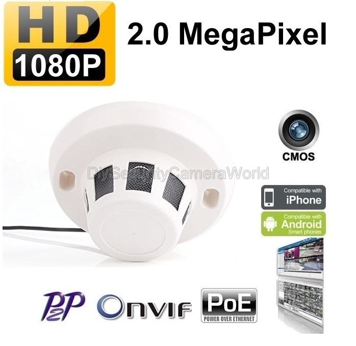 1080P 2MP Indoor Security Smoke Detector Style IP Camera PoE