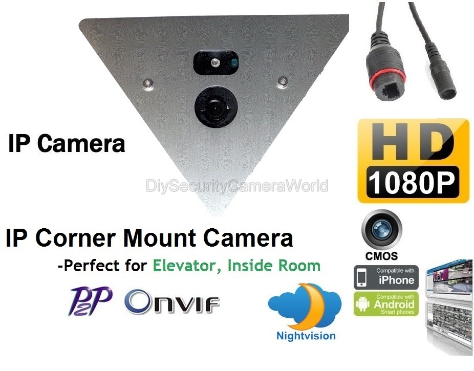 H.264 1080P 2.0MP IP Corner Network Camera Audio P2P Onvif 12VDC