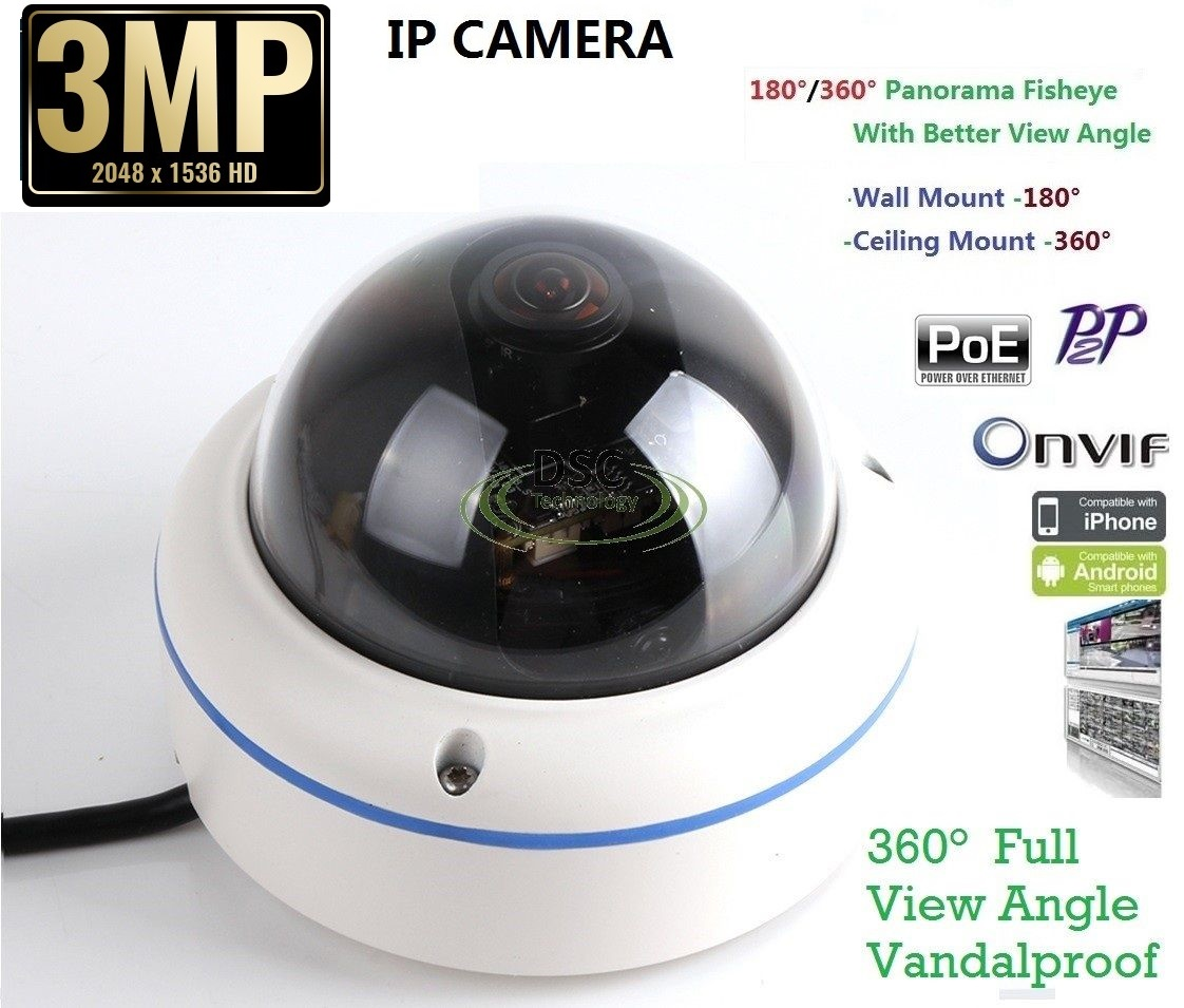 3MP In/Outdoor fisheye Panoramic Security Dome camera PoE Onvif
