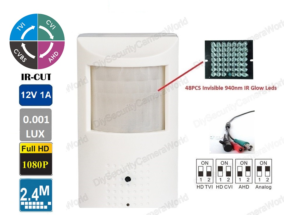 Motion Detector Camera 2.4MP 1080p Invisible IR Glow LED