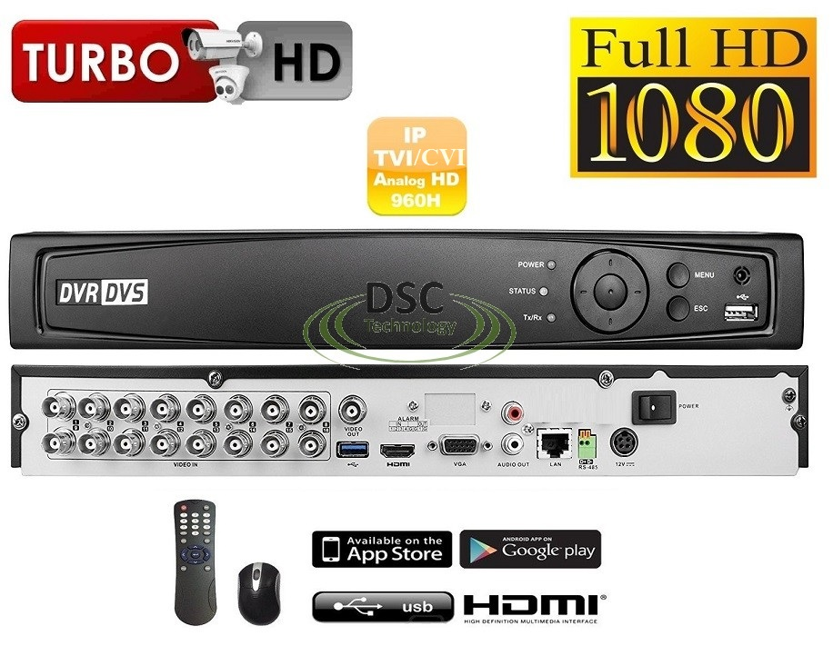 16 Channel 1080P H.265+ 1U 2HDD Bay TVI 4.0 XDVR