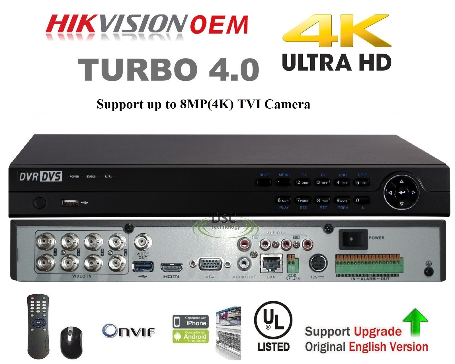 8Channel 8MP H.265+ HD Pentabrid HD-TVI/CVI/AHD IP & Analog DVR
