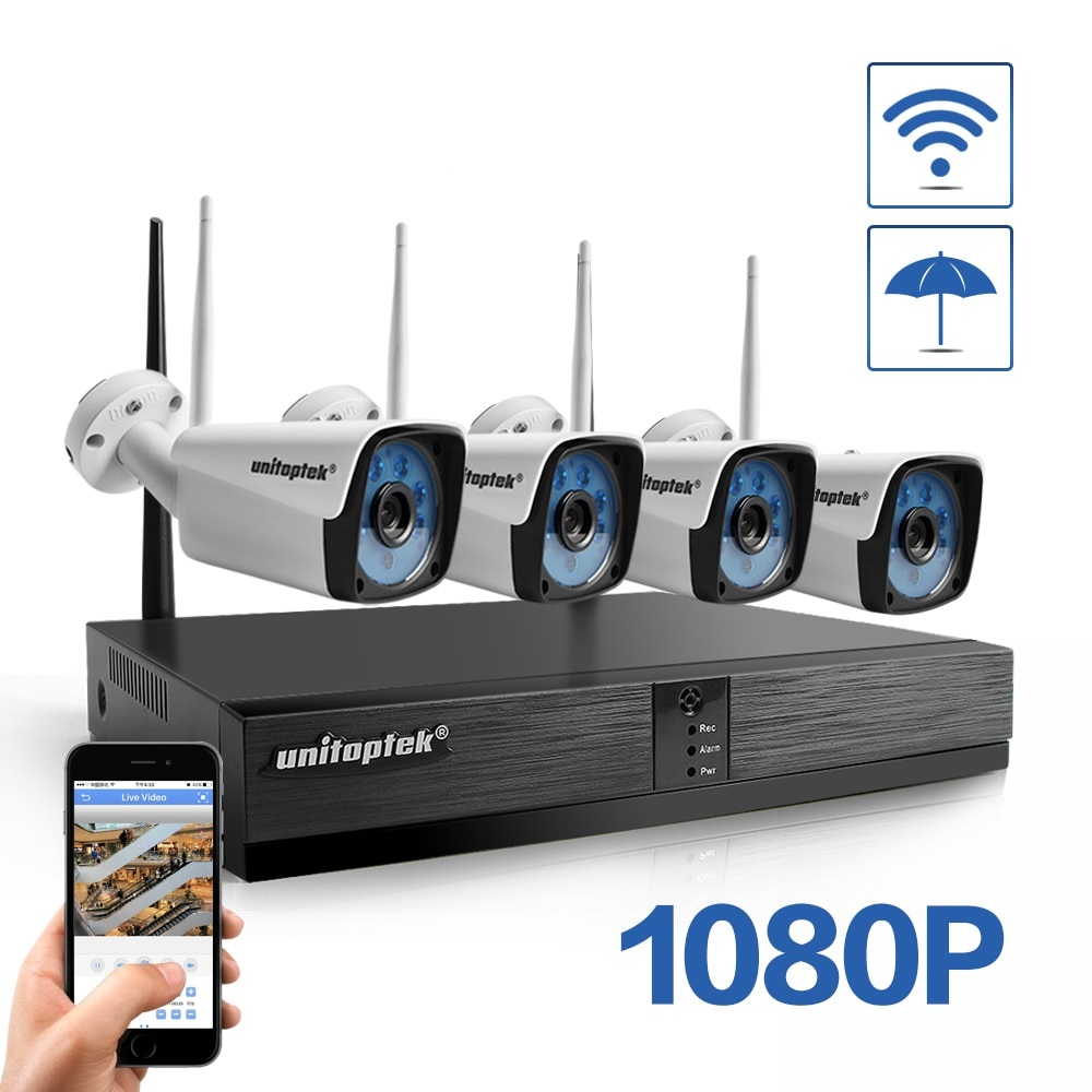 4CH H.265 Wireless NVR CCTV System 1080P IP Camera WIFI Outdoor