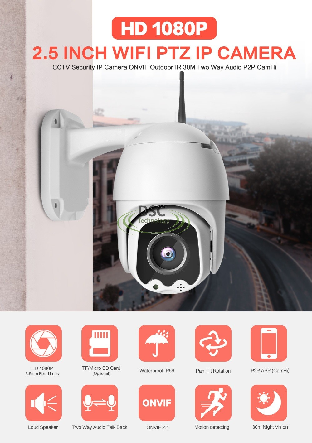 3.6MM Mini 2.5inch PT Speed Ball 2.0MP 1080P WIFI IP Camera Dome