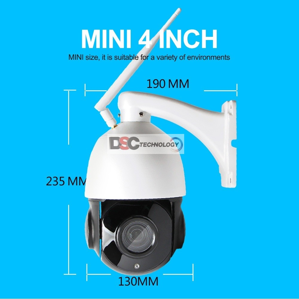 WiFi 1080P Outdoor Dome PTZ IP Camera, Card Slot 2.0MP 18X Zoom