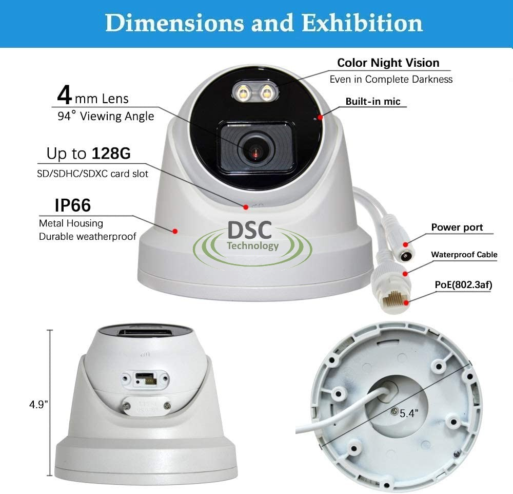 4 Megapixel ColorVu Network Turret Camera, 4mm Lens H.265+